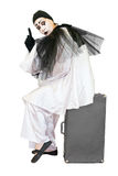 Clown on suitcase with exclamation gesture isolate. Sitting black and white pierrot showing finger on grey suitcase overwhite Stock Images