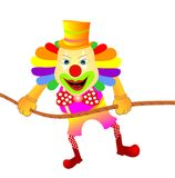 Clown swinging. Vector illustration of funny clown swinging  on a rope ,isolated Royalty Free Stock Photo