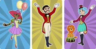 Clown tamer and entertainer circus characters. Cartoon style Stock Photography