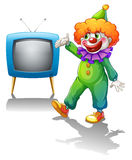 A clown with a television Stock Images