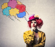 Clown thinking vector illustration