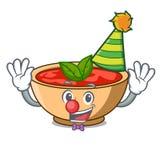 Clown tomato soup character cartoon. Vector illustration Stock Photography