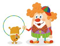 Clown with trained dog Royalty Free Stock Images