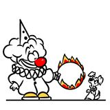 Clown training fire circle cartoon illustration Royalty Free Stock Photo
