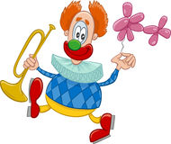 Clown with trumpet cartoon. Cartoon Illustration of Funny Clown Circus Character with Trumpet and Balloon on the Show Stock Images
