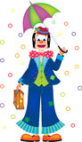 Clown with umbrella. Vector illustration of funny clown with umbrella Royalty Free Stock Image