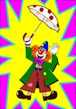Clown with umbrella. Clown with spotted umbrella on the abstract backgrounds stock illustration