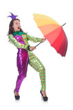 Clown with umbrella Stock Photo