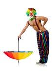 Clown with umbrella Stock Image