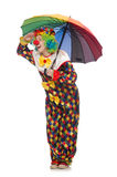 Clown with umbrella isolated on white Royalty Free Stock Photos