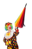 Clown with umbrella isolated on white Stock Photos