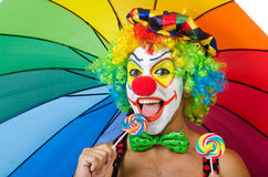 Clown with umbrella Stock Photos