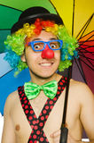 Clown with umbrella  Stock Image