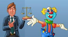 Clown und Rechtsanwalt Stockfotografie