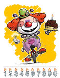 Clown on Unicycle Carrying a Birthday Cake Stock Image