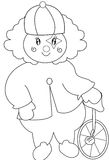 Clown with a unicycle coloring page Royalty Free Stock Photography