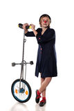 Clown with a unicycle. Clown entertainer posing with a unicycle Stock Photography