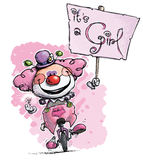 Clown on Unicycle Hoding a Its a Girl Plackard Royalty Free Stock Photo