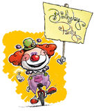 Clown on Unicycle Holding a Birthday Party Placard Stock Photography