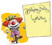 Clown on Unicycle Holding Invitation Royalty Free Stock Photography