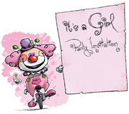 Clown on Unicycle Holding Invitation-It's a Girl Party Royalty Free Stock Photos