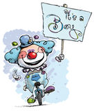 Clown on Unicycle Holding an Its a Boy Placard Stock Photo