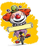 Clown on Unicycle Holding a Label Stock Image