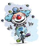 Clown on Unicycle Juggling Boy Colors Stock Image