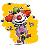 Clown on Unicycle Juggling. Cartoon-Artistic illustration of a Clown on Unicle Juggling Royalty Free Stock Photo
