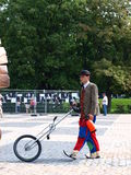 Clown with a unicycle, Lublin, Poland. Clown with a unicycle during the annual Jagiellonian Fair (12th-14st August 2011), Lublin, Poland, August 13th 2011 Royalty Free Stock Image