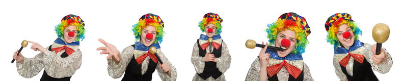 The clown in various poses isolated on white Stock Images