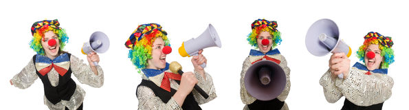 The clown in various poses isolated on white Royalty Free Stock Photography
