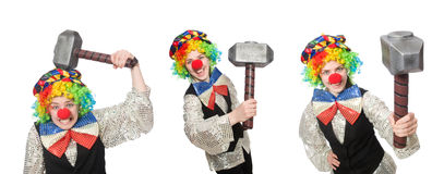 The clown in various poses isolated on white Royalty Free Stock Photos