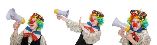 Clown in various poses isolated on white Stock Photo