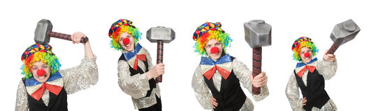 Clown in various poses isolated on white Royalty Free Stock Photo