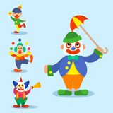 Clown vector circus man characters performer carnival actor makeup clownery juggling clownish human cartoon. Illustrations stock illustration
