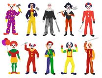 Clown vector clownish character clowning on performance in circus and cartoon man of clownery illustration set of Stock Photography