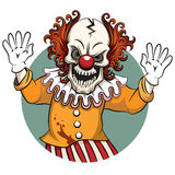 Clown vector illustration. Clown angry. Face horror and crazy maniac, scare zombie. Vector illustration Royalty Free Stock Photos