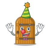 Clown vintage wooden door on mascot cartoon. Vector illustration royalty free illustration