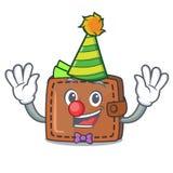 Clown wallet mascot cartoon style. Vector illustration Vector Illustration