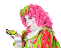 Clown Watching Butterfly Royalty Free Stock Photo