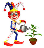 Clown with Watering can and plant. 3d rendered illustration of Clown with Watering can and plant Royalty Free Stock Images