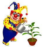 Clown with Watering can and Plant. 3d rendered illustration of Clown with Watering can and Plant Royalty Free Stock Image