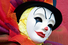 Clown in white mask - close up Royalty Free Stock Photos