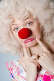Clown with white wig Royalty Free Stock Image