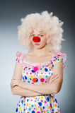 Clown with white wig against Royalty Free Stock Photography