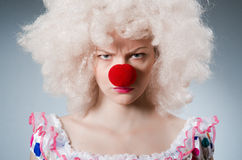 Clown with white wig against Royalty Free Stock Images
