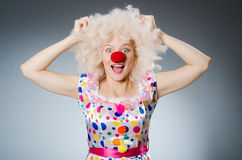 Clown with white wig against Royalty Free Stock Photos