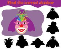 Clown woman. Find the correct shadow. Kid's game. Clown woman. Find the correct shadow. Kid's game Stock Photography