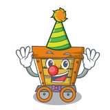 Clown wooden trolley mascot cartoon. Vector illustration royalty free illustration
